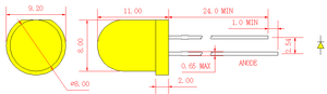 8mm Yellow Round LED Lamp with yellow diffused